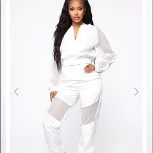 Reflective White Fashion Nova two piece